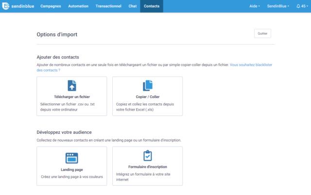 Options d'import de contacts