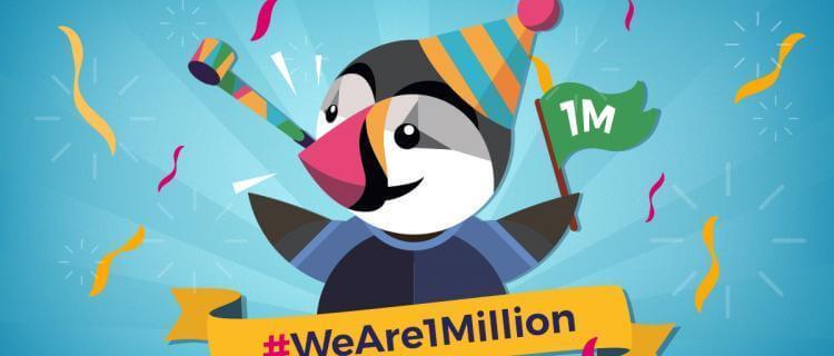Visuel de PrestaShop pour célébrer leur 1 million de membres dans leur communauté.