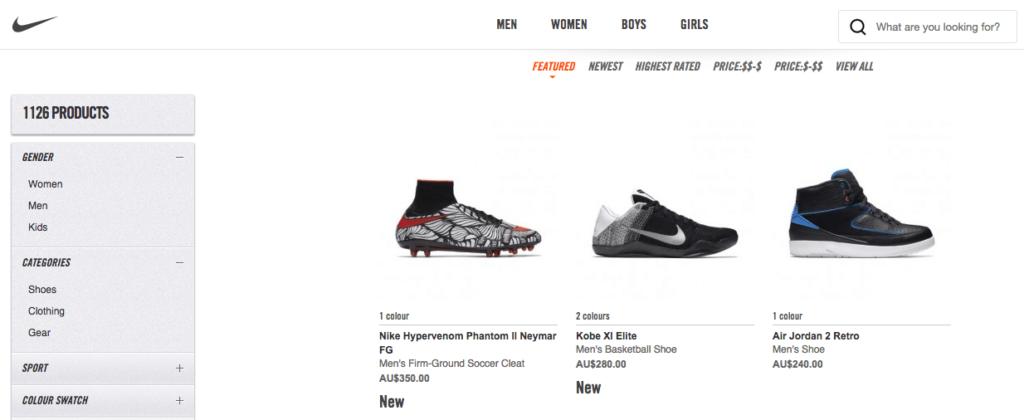 Nike utilise le CMS e-commerce Magento (capture d'écran de la boutique en ligne Nike)