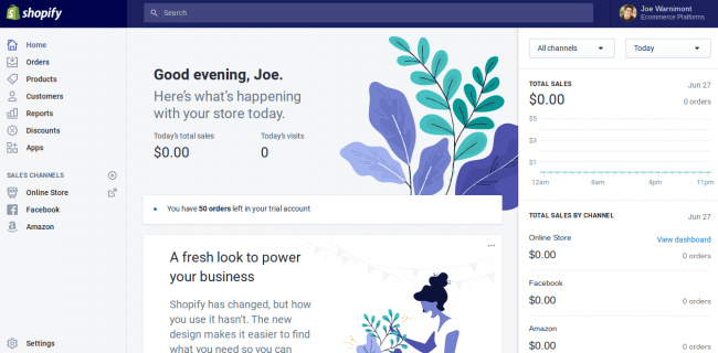 Capture d'écran du tableau de bord (côté admin) de Shopify