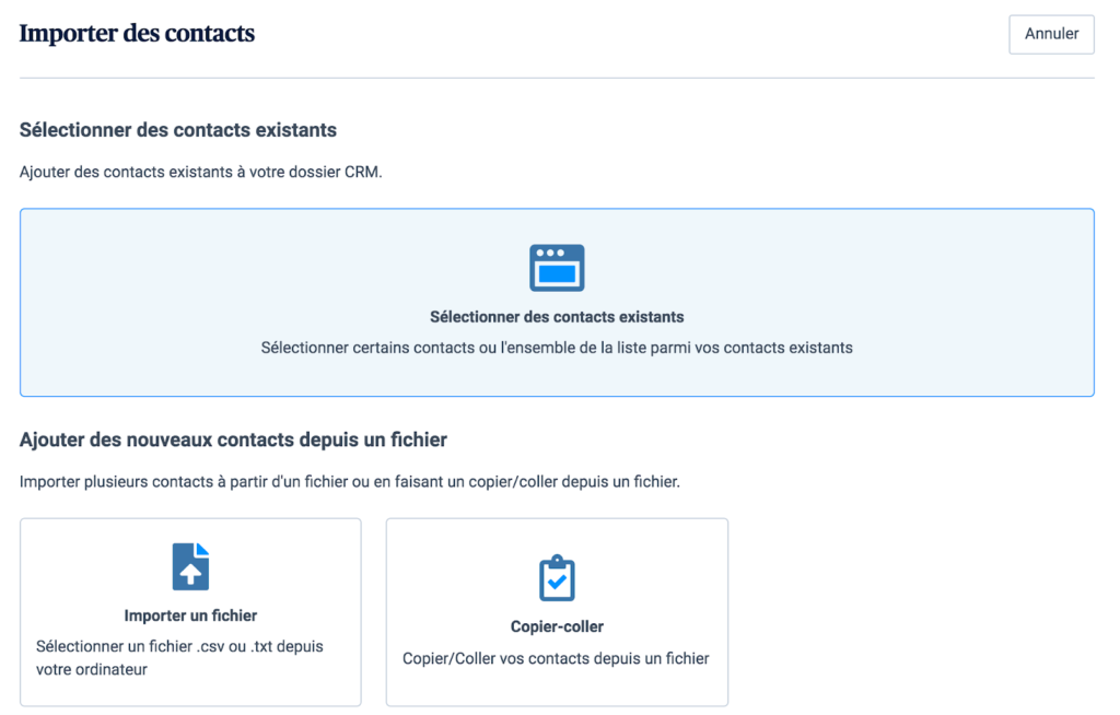 Importer des contacts existants dans le CRM