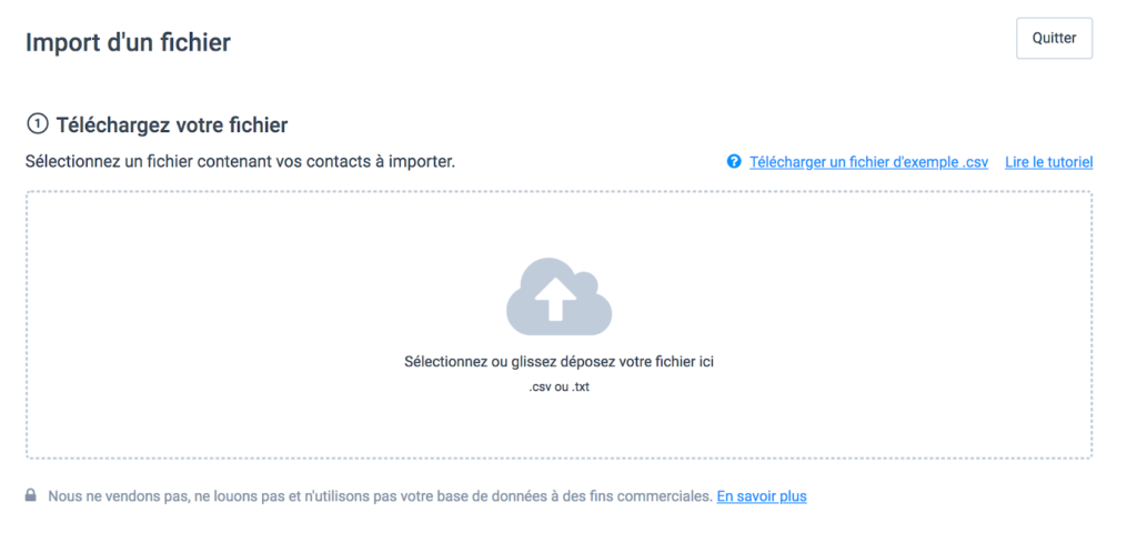 Import d'un fichier de contacts dans le CRM