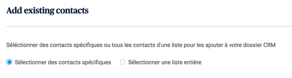 Import des contacts dans le CRM depuis Sendinblue