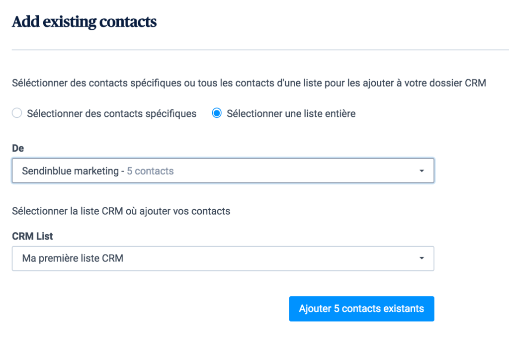 Importer une liste de contacts depuis Sendinblue