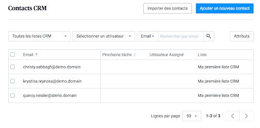 Ceci est la liste qui contient les contacts de votre CRM.