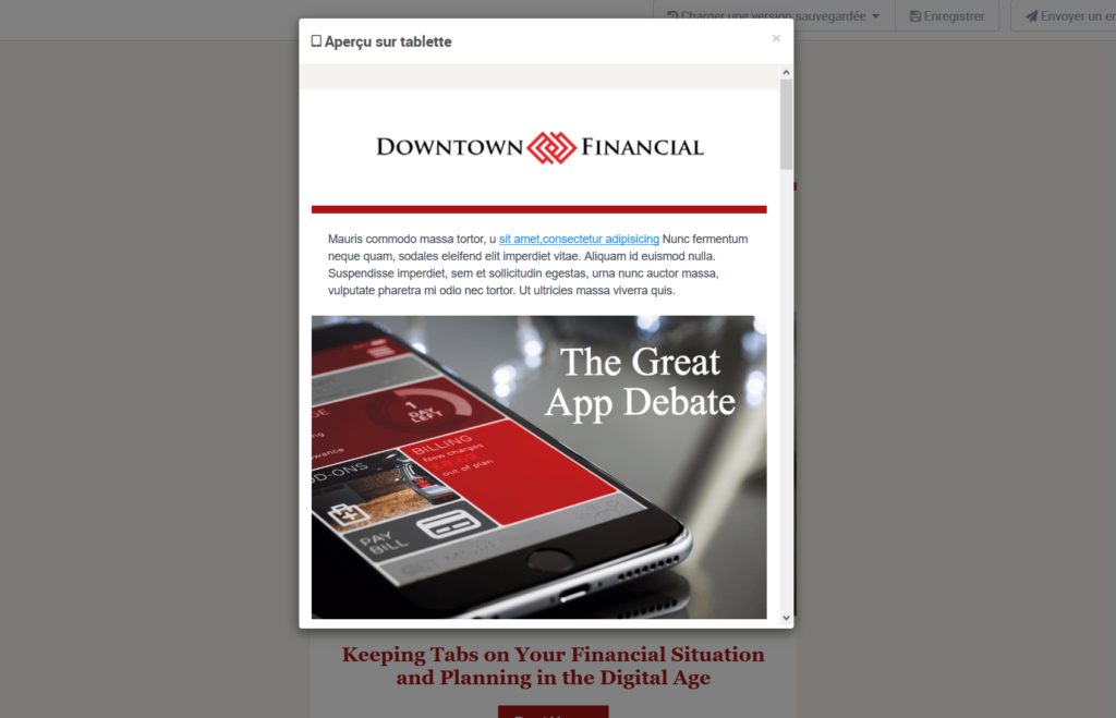 Format emailing - affichage sur mobile