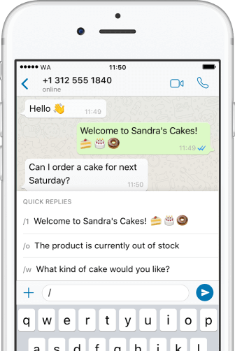 Exemple de marketing conversationnel : se rendre disponible sur Whatsapp Business
