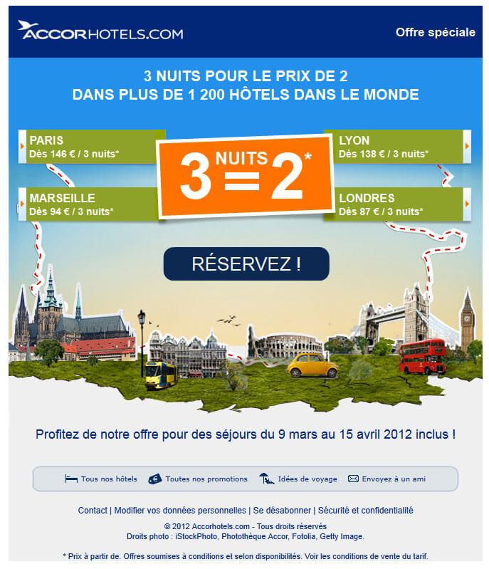 Emailing tourisme - Newsletter réduction