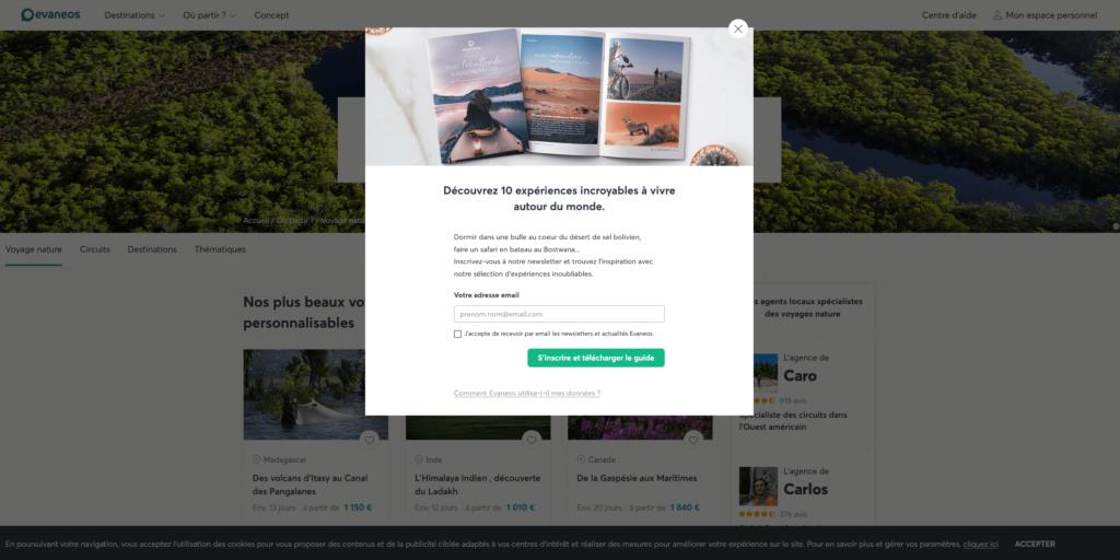 Newsletter tourisme - formulaire pop-up