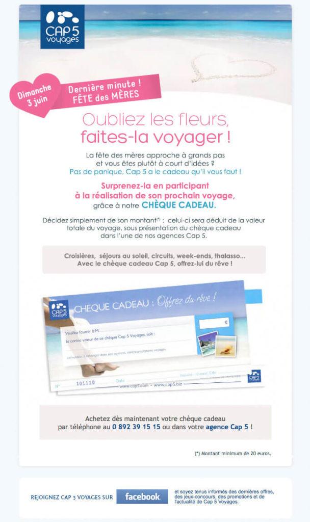 Emailing tourisme - Newsletter Fête des Mères