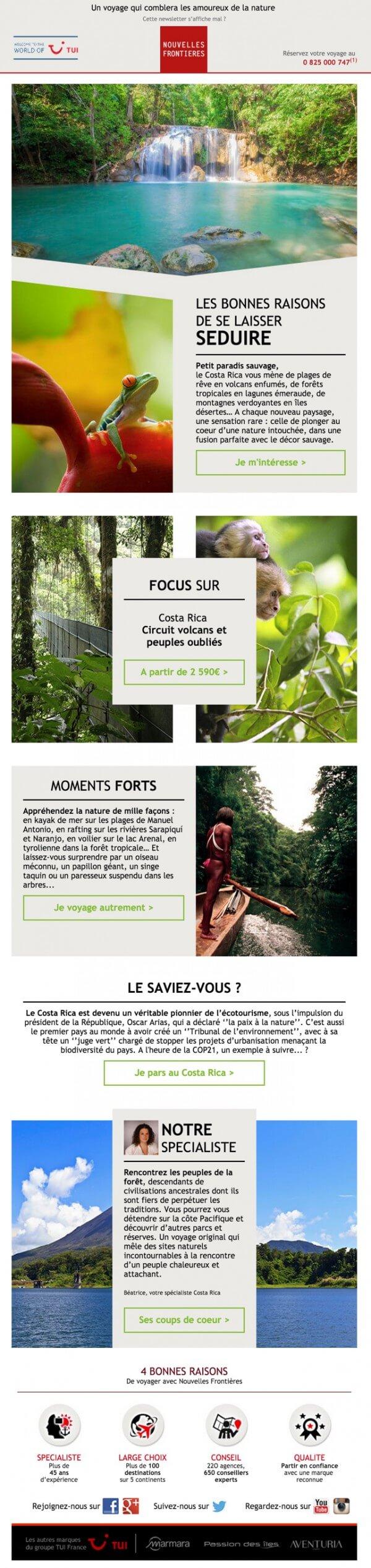 Emailing tourisme - contenu newsletter