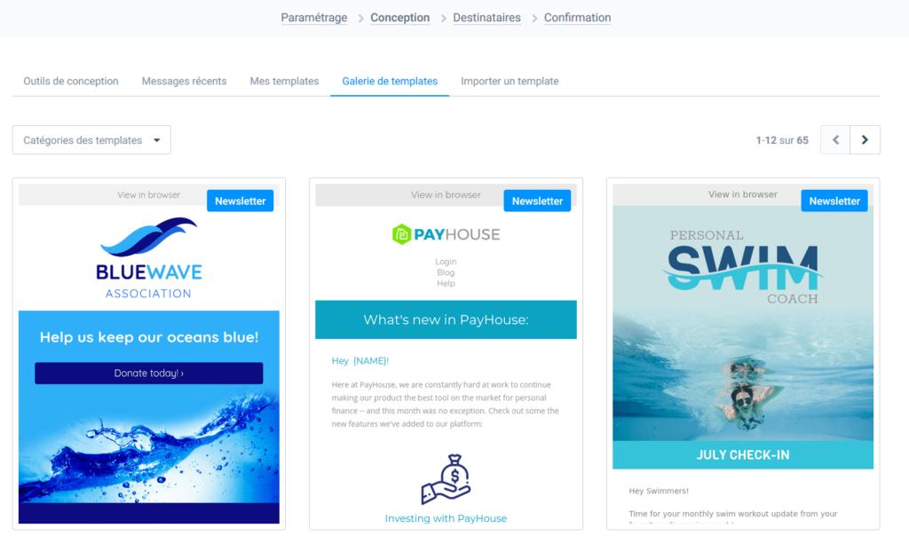 Mailchimp gratuit français - templates