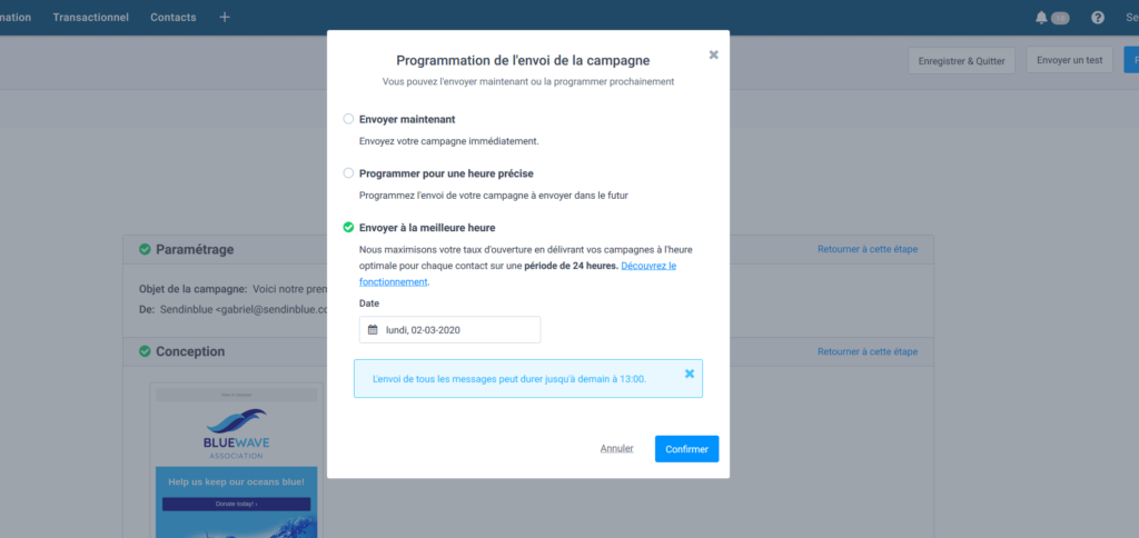 Mailchimp gratuit français - horaire d'envoi