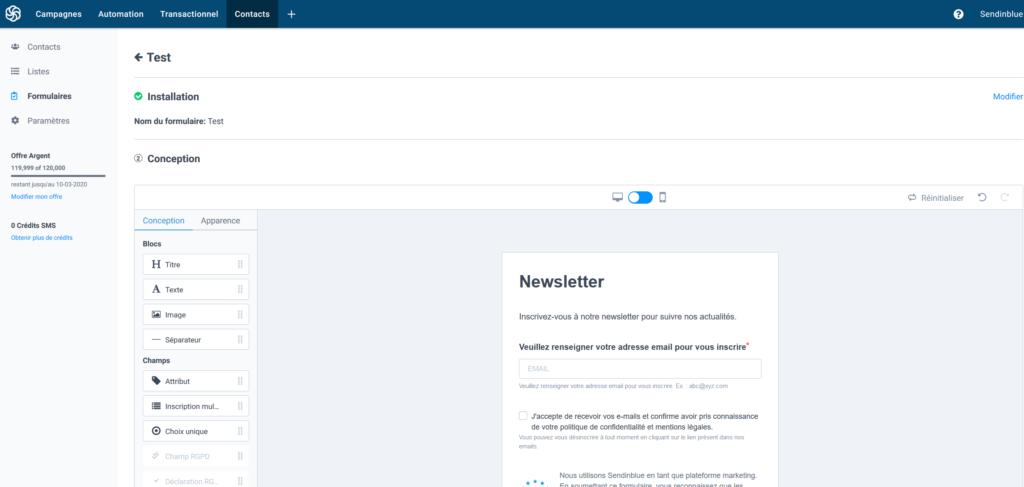 Mailchimp gratuit français - Formulaire double opt-in