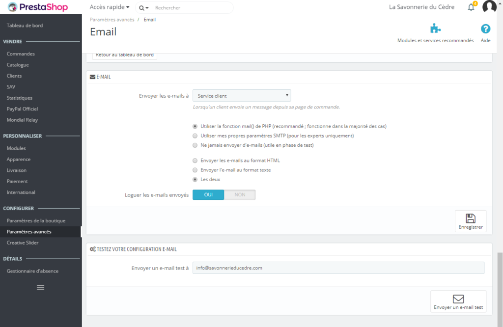 Prestashop - Email