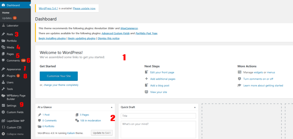 Créer un site WordPress - Interface UI WordPress