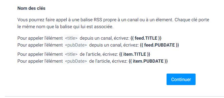 Clé préformatées des balises RSS