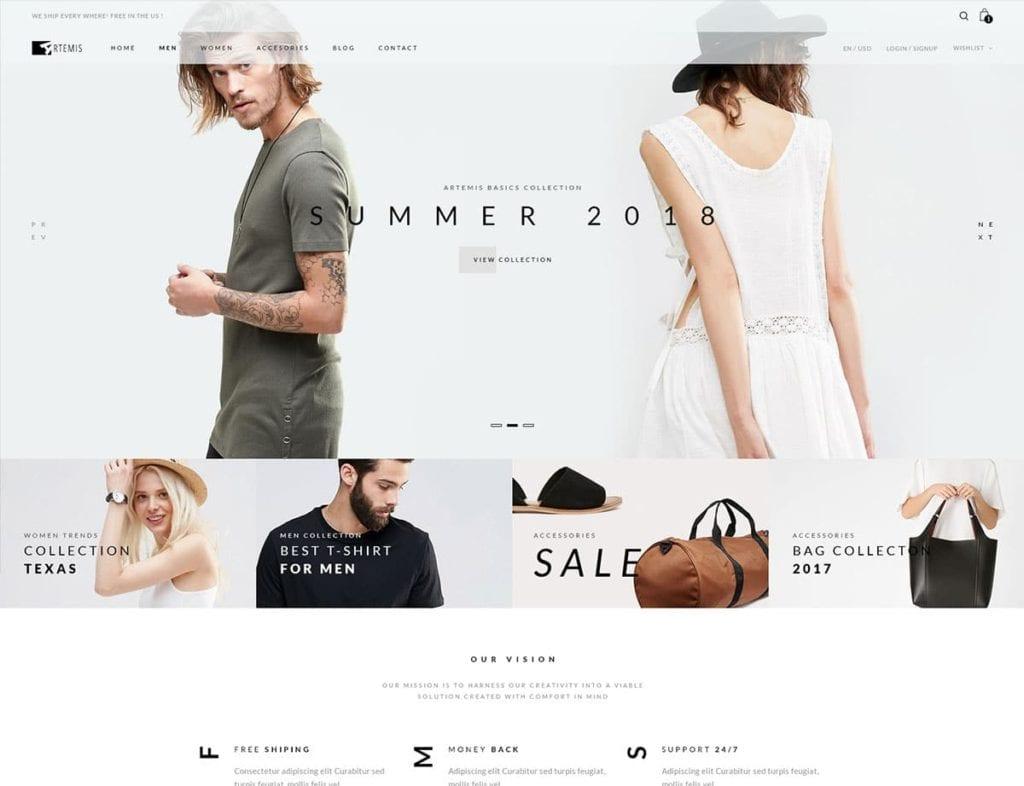 Thèmes WordPress pour votre site ecommerce - Artemis