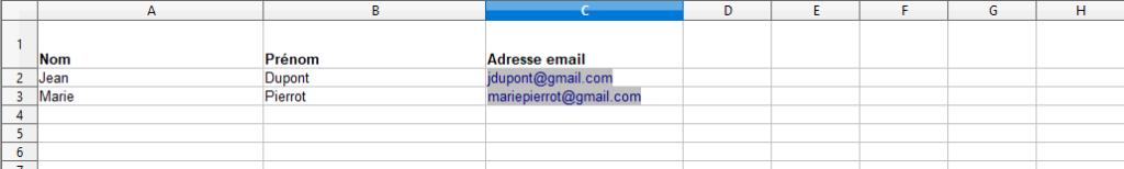 Publipostage Excel