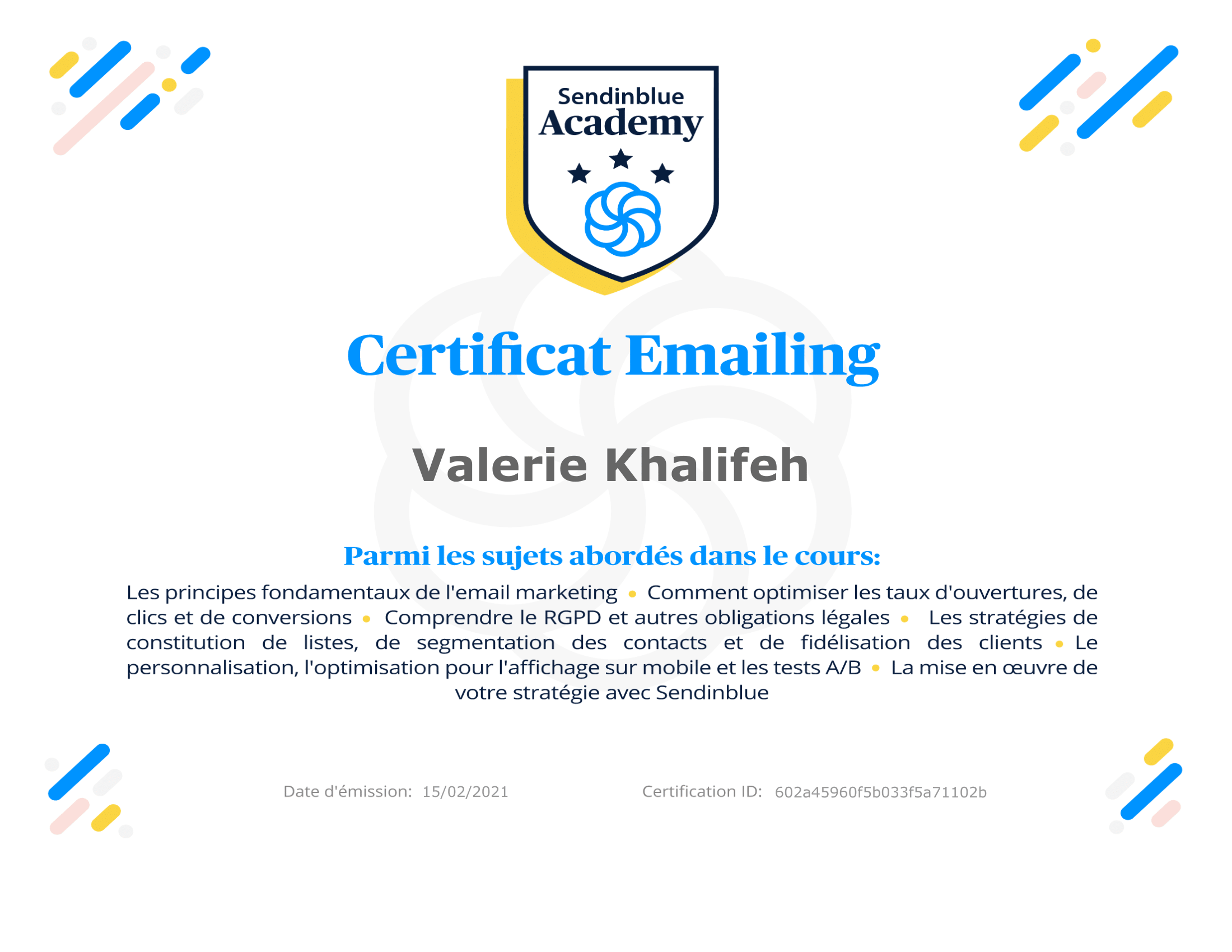 French Certificate Sendinblue Academy
