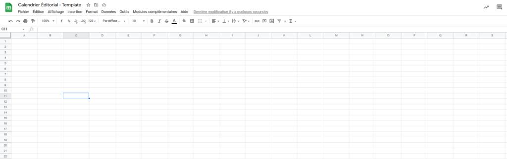 Calendrier éditorial - Google Sheets