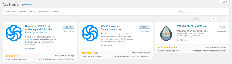 Installer le plugin wordpress de Sendinblue
