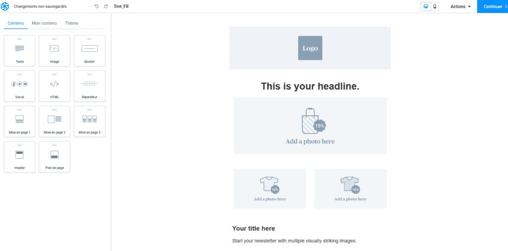Créer une newsletter - bloc Texte