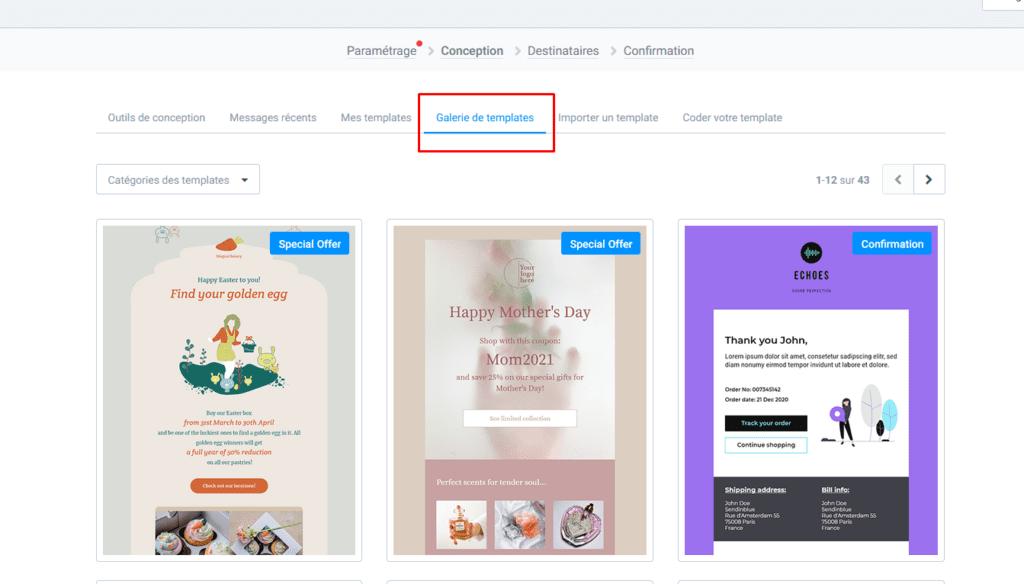 Créer une newsletter - gallerie de template