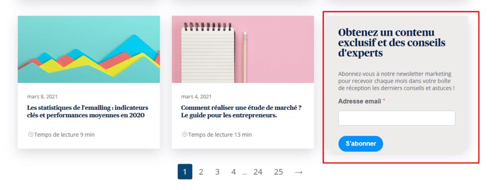 Créer une newsletter - exemple formulaire