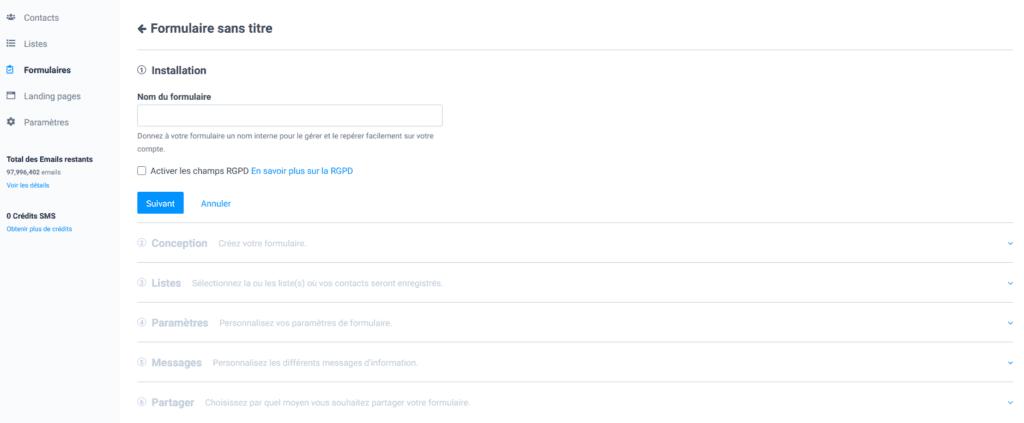 Créer une newsletter - paramètres formulaire