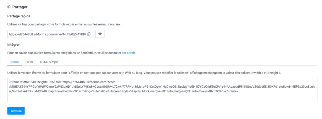 Créer une newsletter - partager formulaire
