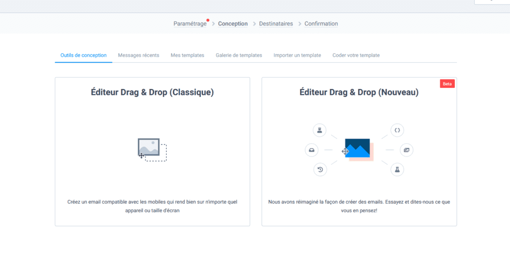 Créer une newsletter - éditeur drag & drop