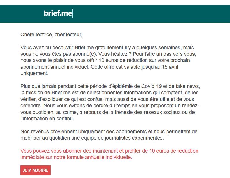 Email de relance - Brief
