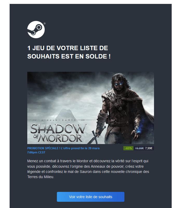 Email de relance - Steam