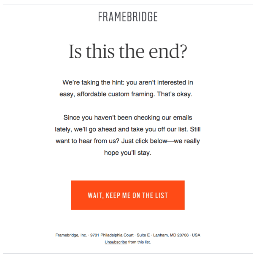 Email de relance - Framebridge