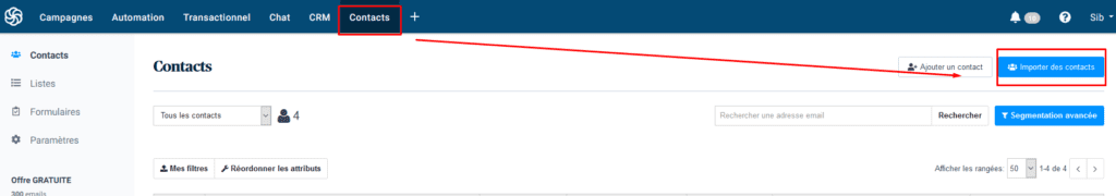 Liste emails - exemple Sendinblue import de contacts