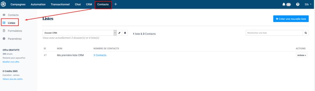Liste emails - exemple Sendinblue segmentation