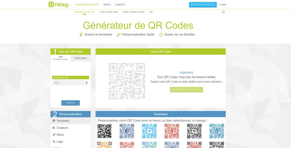 Unitag - créer un QR Code